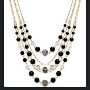 Inc gold tone jet bead necklace